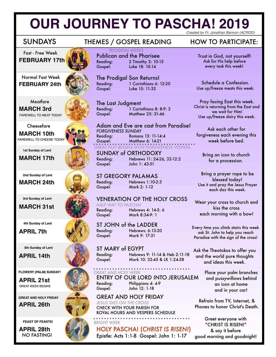 Orthodox Lent Calendar 2019 Our Journey to Pasha 2019 – Saints Constantine and Helen Greek