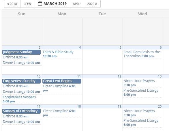 New Calendar of Events
